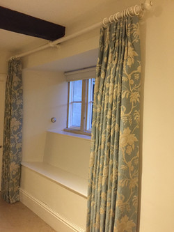 soft cream and dove blue grey pattered full length curtains with matching wooden pole and rings