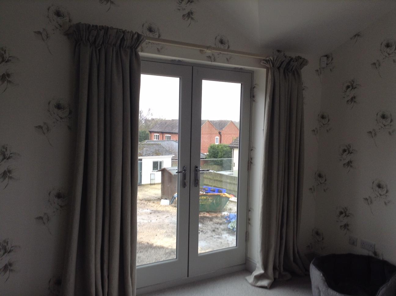 Grey full length curtains