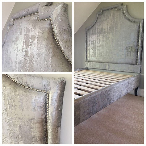 Textured bespoke headboard and bed base.