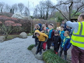 Cub scouts being taken on a tour of Walk