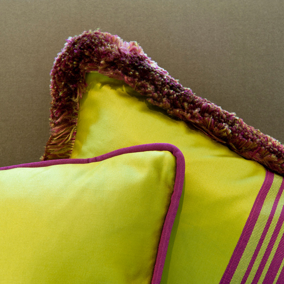 Lime green cushions with pink trim