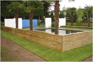 Aspirational garden  witjh Minimalistic planting and materials