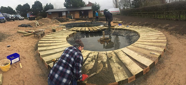 A Large Nature Pond under construction .