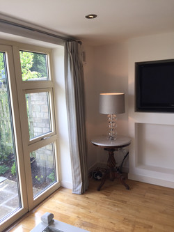 full length grey striped curtains