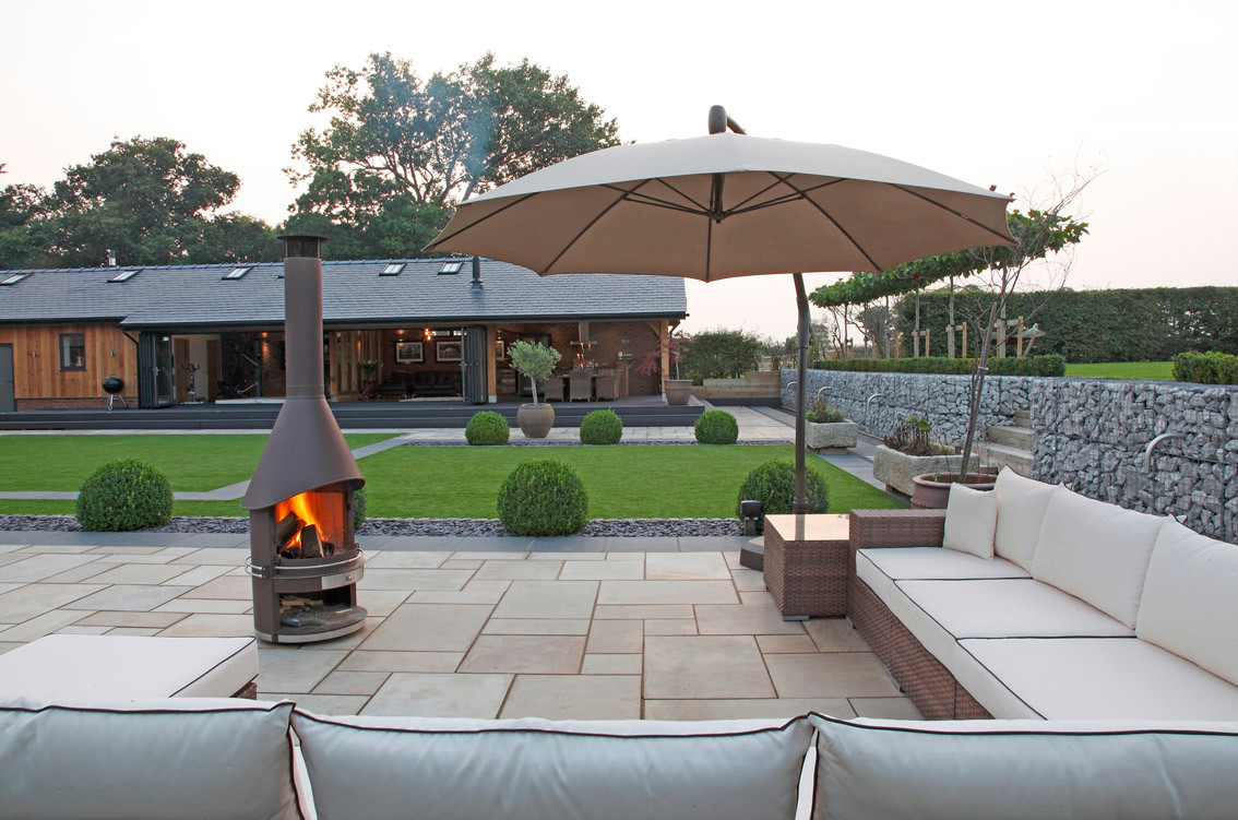 Low maintenance barn conversion garden design for entertaining, Chester, country house,