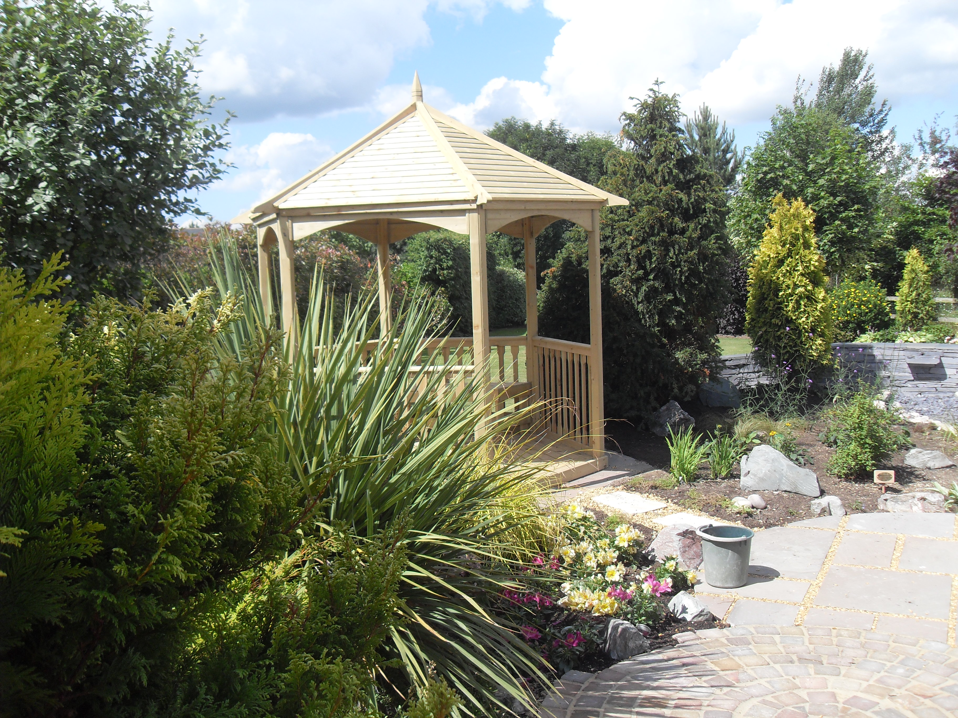 Family garden shady seating area