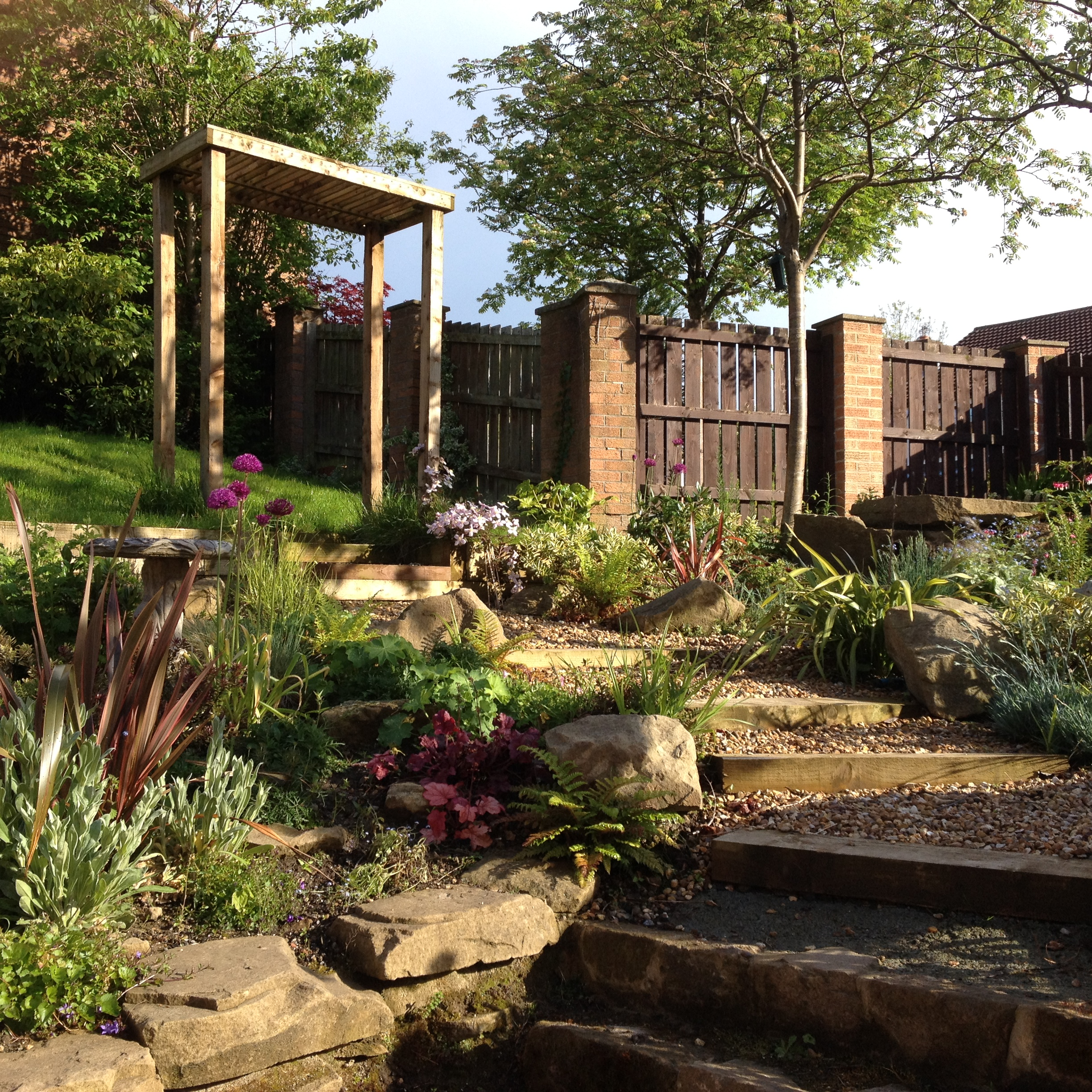Informal garden with steps and pergola