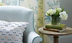 armchair cushipins curtains