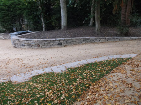curvaceous dry-stone walls constructed b