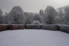 Theatre Lawn in snow at Walkden Gardens (Sale Cheshire)