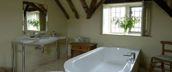 beamed  country cottage bathroom