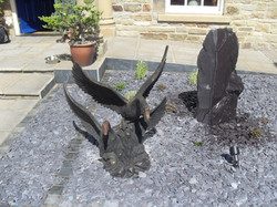 Slate monolith water feature