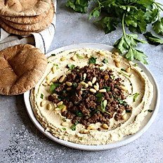 Hummus with Ground Beef (serves 10)