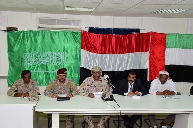 Staff Brig Musallam Al Rashidi, Commander of UAE Force in Hadhramout, and others. Photo by WAM