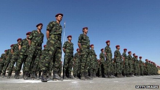 Soldiers of the Republican Guard stand to attention during a graduation ceremony (Getty Images)
