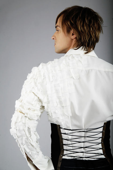4-1Double ruffled shirt and mens corset