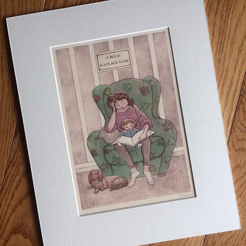 'A Book is a Place' Matted Giclee by Elizabeth Andrews