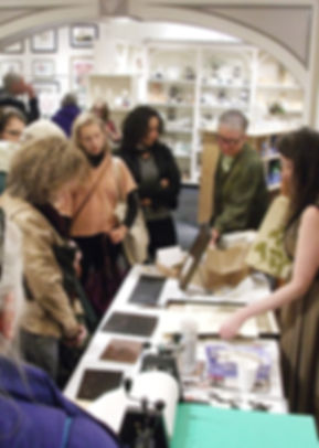 Elizabeth Andrews artist demonstrations during Gallery Night at handwork cooperative in downtown Ithaca, N.Y.