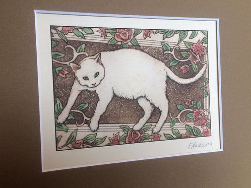 'White Cat on Rug' Giclee Print BY Elizabeth Andrews