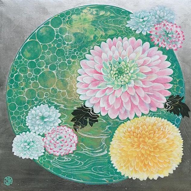 環の中のぽんぽん菊