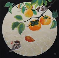 環の中の柿と雀
