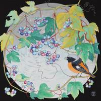 環の中の野葡萄とジョウビタキ