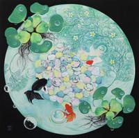 環の中の布袋葵と金魚