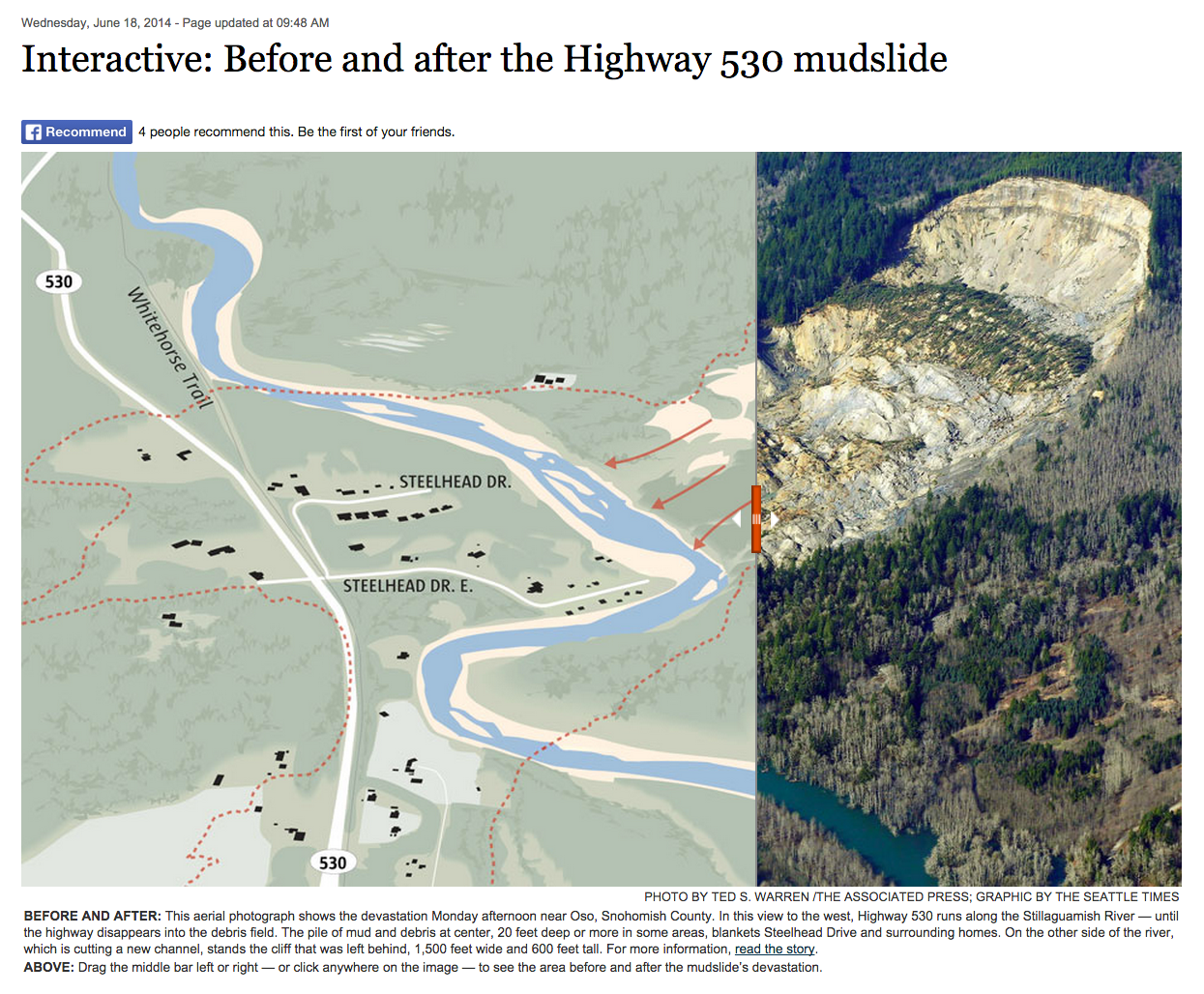This slider was an impactful way to illustrate the devastation of the Oso landslide. It was part of the Pulitzer Prize winning coverage the tragic event.