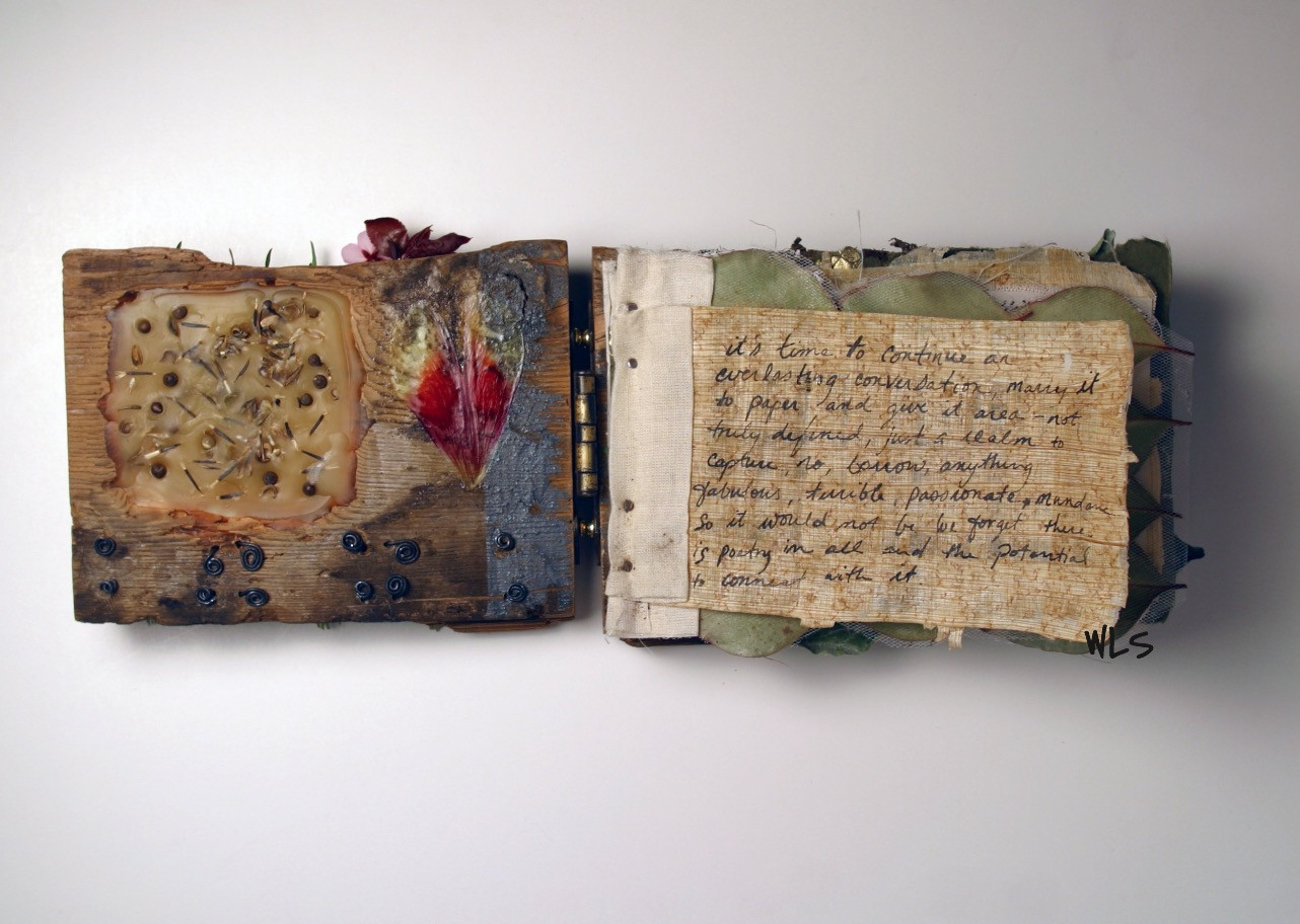 Mixed media book interior. Wood, wire, beeswax, seeds, flowers, leaves, papyrus, ink and paint. Bound with canvas, nails and antique hinge.