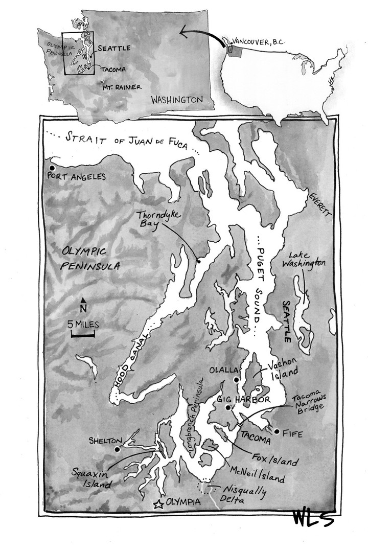 Hand-drawn map for the book, Shell Games: Rogues, Smugglers, and the Hunt for Nature's Bounty by Craig Welch Pen and ink on paper