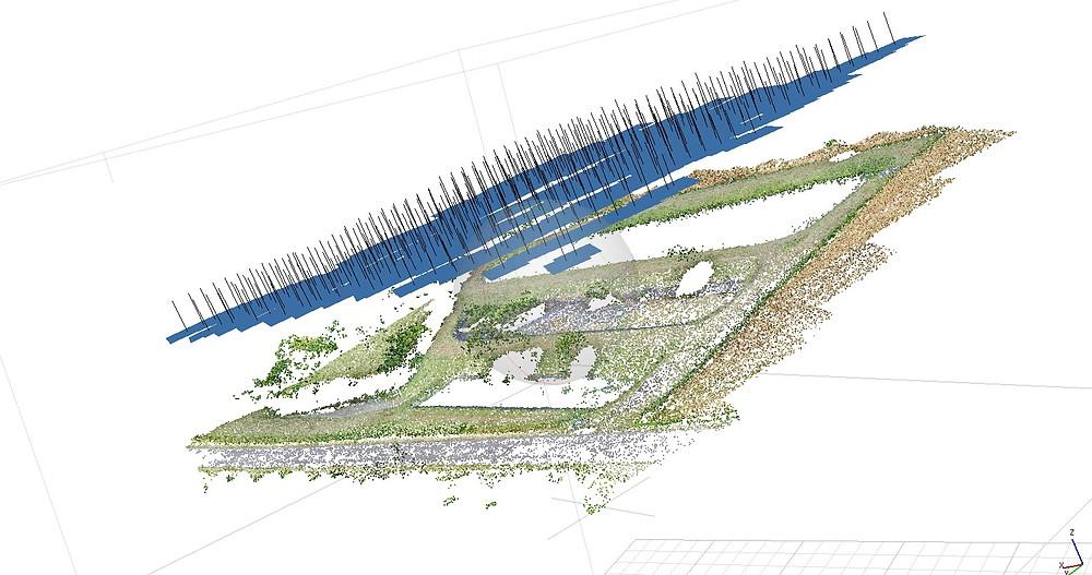 Nuage de points clairsemé après captation par un drones et traitement photogrammétrique par Dronesbtp  (www.dronesbtp@gmail.com)