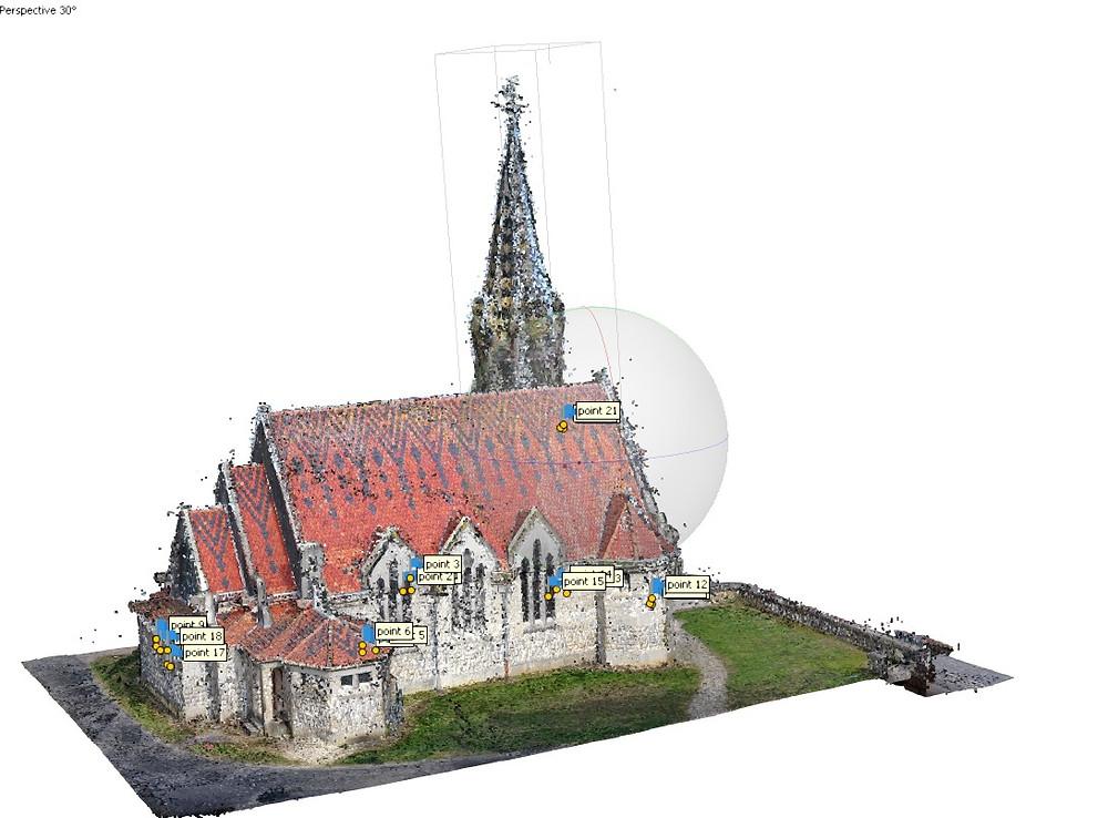 Nuage de points photogrammétrie de l'Eglise de Brancourt en Laonnois (www.dronesbtp.fr)