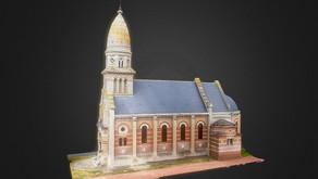 Numérisation Photogrammétrie par drone de l'Eglise de Cardonnette dans la Somme