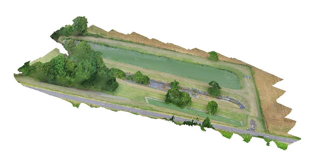 Modèle 3D tuilé texturé réalisé après traitement photogrammétrique de clichés photos drones pour modéliser une station d'épuration