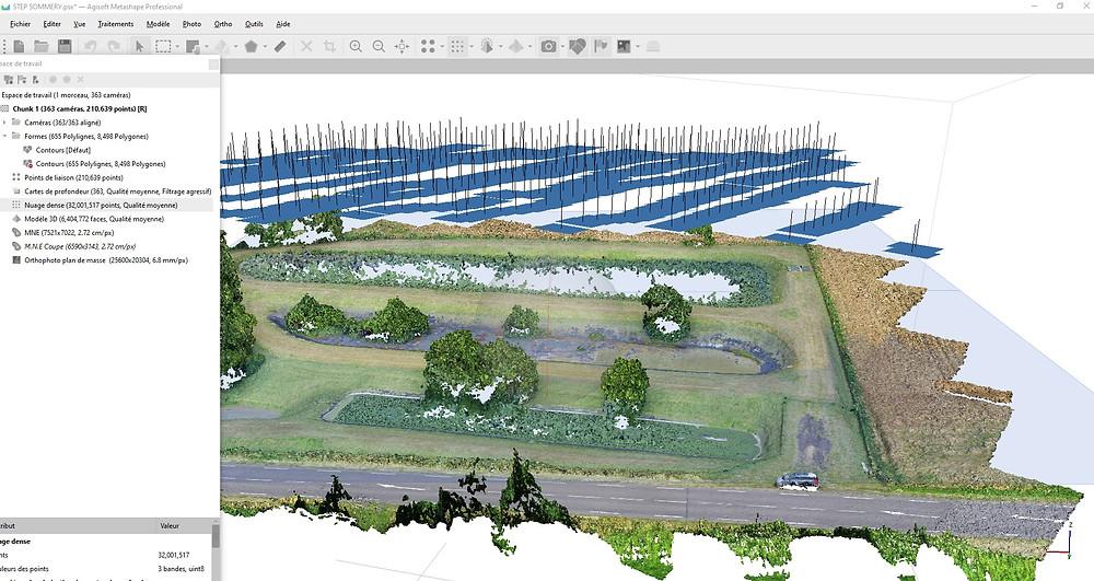 Nuage dense de 300 millions de points après capture par drone d'un terrain par Drones btp www.dronesbtp.fr