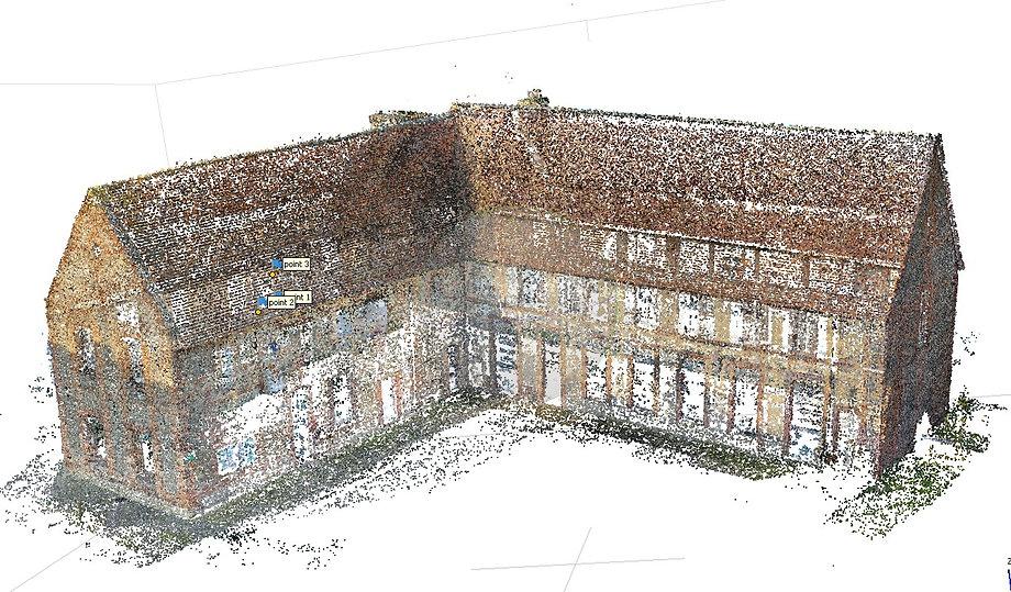 Génération d'un nuage de point clairsemé après l'alignement des cameras par dronesbtp www.dronesbtp.fr