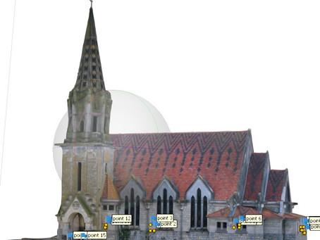 Numérisation photogrammétrie par drones de l'église de Brancourt en Laonnois dans l'Aisne (Picardie)