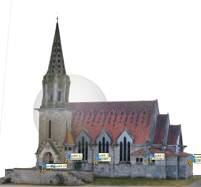 Photos du modèle 3D numérique par photogrammétrie drones de l'Eglise de Brancourt en Laonnois par www.dronesbtp.fr