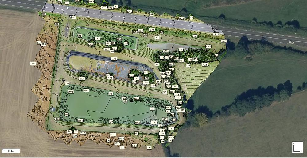 Ortho-photo plan avec ligne de niveau par drones BTP www.dronesbtp.fr