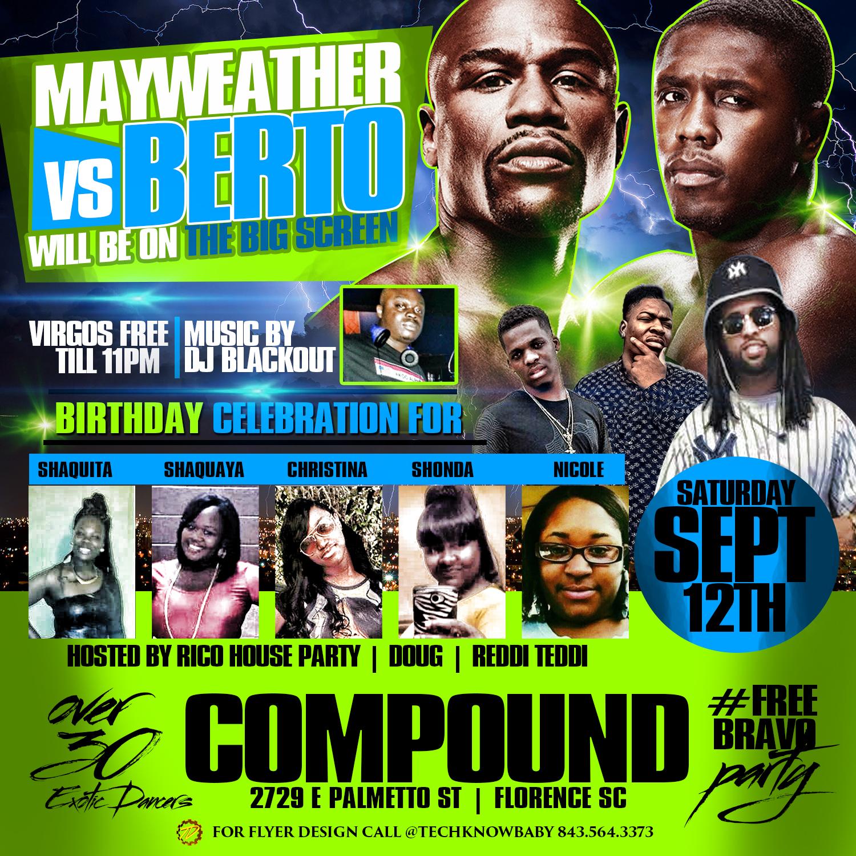Mayweather vs Berto Club flyer