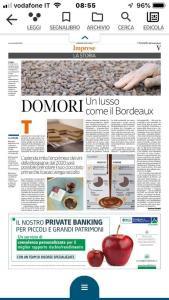 Il Corriere, Economia Nord Ovest: DOMORI, un lusso come il Bordeaux