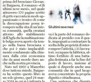 """BresciaOggi dedica uno spazio all'opera """"Gli ultimi nove mesi"""" di Giovanni Baiguera"""