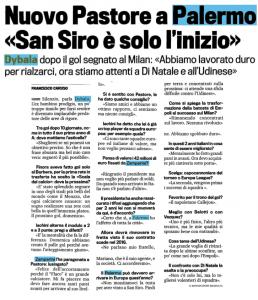 """Intervista della """"Gazzetta dello Sport"""" a Paulo Dybala"""