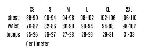Tadaias Men's sizing chart