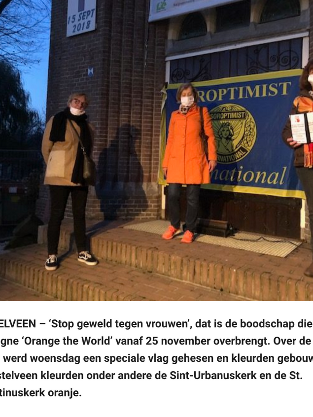 Sint-Urbanuskerk kleurt oranje tegen vrouwengeweld