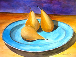 Pears in Blue Plate