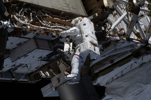 Astronauts in spacewalk have updated batteries and replaced cameras on the ISS