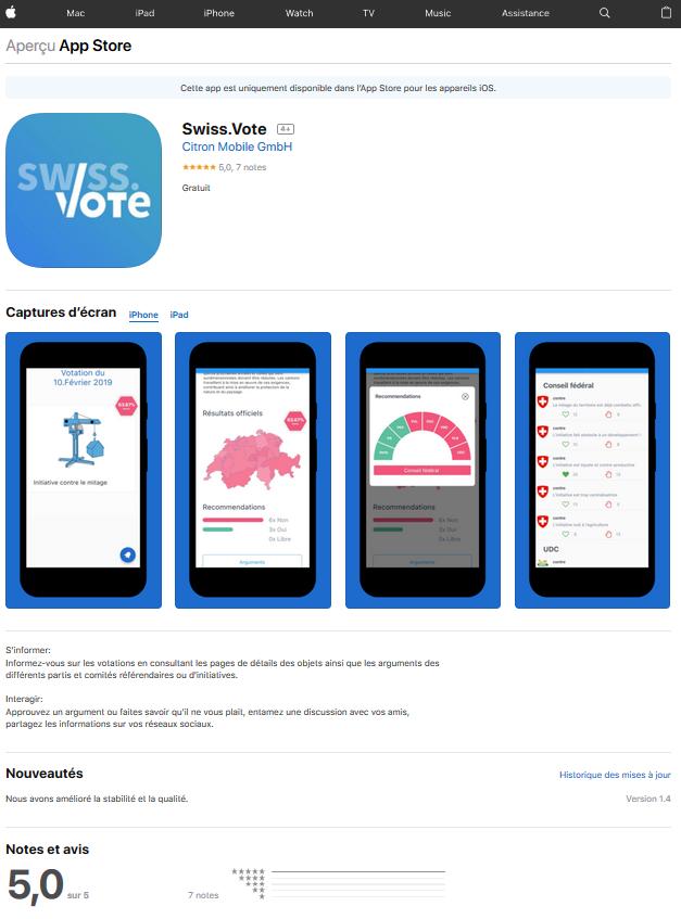 Apple App Store Swiss.Vote Citron Mobile