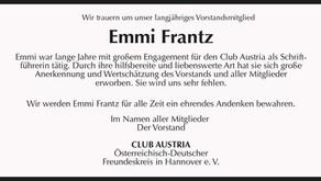 Wir trauern um unser Vorstandsmitglied Emmi Frantz