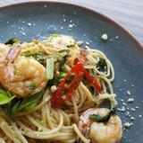 shrimp-pasta-served-on-gray-plate-209290